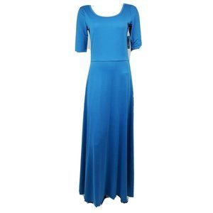 NWT LULAROE Solid Blue Ana Maxi Dress Medium